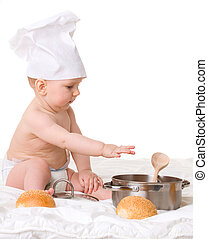 Baby, spoon, pot and bread isolated on white background
