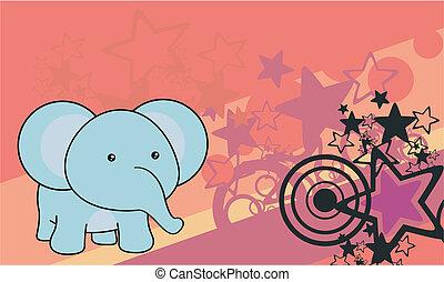 baby, spotprent, achtergrond, elefant
