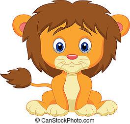baby, spotprent, leeuw, zittende