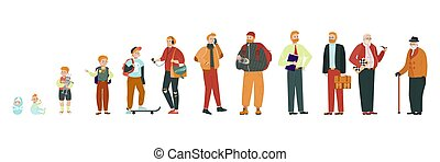 baby, stadien, mann, vektor, abbildung, altes , wachsen, pensionär, alter, verschieden, auf