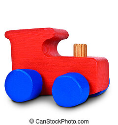 Baby steam locomotive on white background