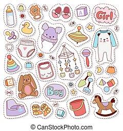 Baby stickers badge vector.