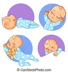 Baby stickers set. Sleeping baby. Various poses.
