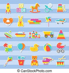 Baby stickers, toys set. Vector illustration in flat design.