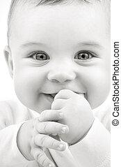 baby - monochrome closeup portrait of adorable baby boy
