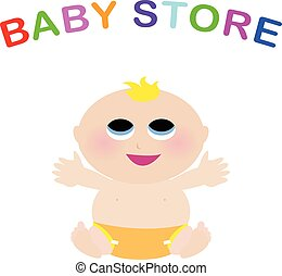baby store colorful logo with child