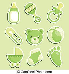 baby stortbad, groene, iconen