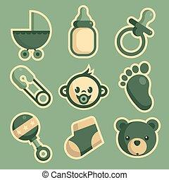 baby stortbad, iconen