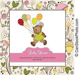 baby stortbad, kaart, met, schattig, teddy