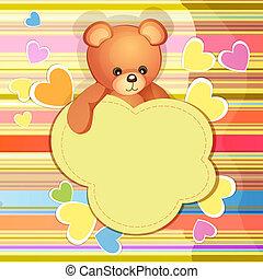 baby stortbad, kaart, met, teddy beer