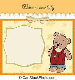 baby stortbad, kaart, met, teddy
