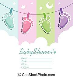 baby stortbad, kaart, uitnodiging