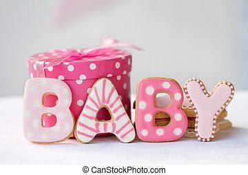 baby stortbad, koekjes