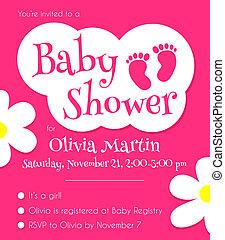 baby stortbad, mal, uitnodiging