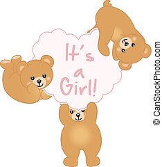 baby stortbad, meisje, beer, teddy