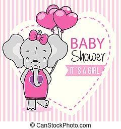 baby stortbad, meisje, kaart