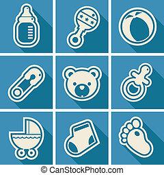 baby stortbad, plein, iconen