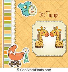 baby stortbad, tweeling, kaart