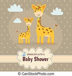 baby stortbad, uitnodigingskaart, met, schattig, giraffes