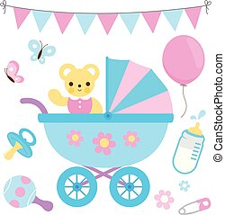 Baby stroller and accessories in blue and pink colors. Vector collection