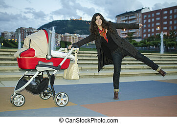 Baby stroller and funny mom