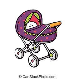 Baby stroller, bright vector