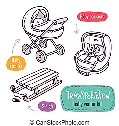 Baby stroller, car seat and sleigh - vector line art icon set with baby products for children transportation isolated on white