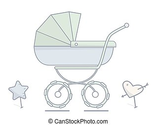 Baby stroller. Flat linear illustration.