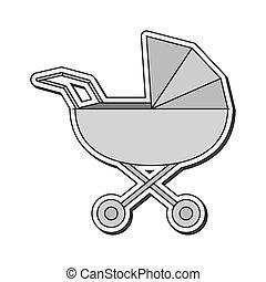 Baby Stroller icon - flat design baby stroller icon vector...