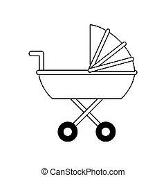baby stroller icon image vector illustration design