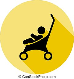 baby stroller icon in long shadow style