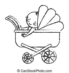 baby stroller icon over white background. vector...