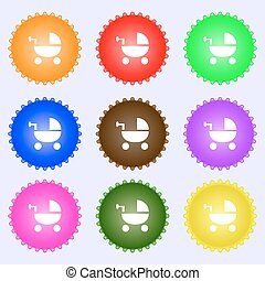 Baby Stroller icon sign. Big set of colorful, diverse, high-quality buttons. Vector