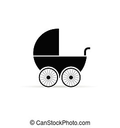 baby stroller illustration in black