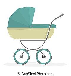 Baby stroller Isolated on white background. Cartoon pram illustrated.