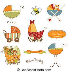 baby stroller items set in vector format isolated on white background