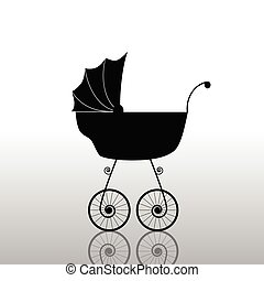baby stroller old black vector