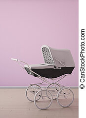 Baby stroller on pink wall upright