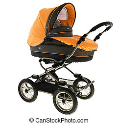 Orange baby stroller isolated in a white background