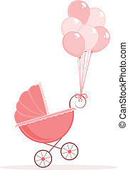 Baby Stroller - Pink baby stroller with balloons.