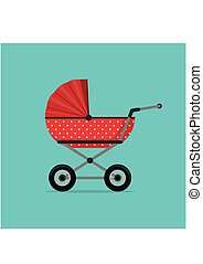 Baby stroller red isolated on blue background. Children pram, baby carriage vector illustration