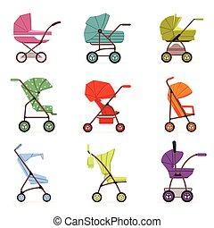 Baby stroller set, different types of kids transport, colorful vector Illustrations