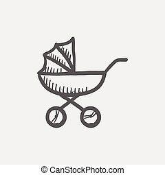 Baby stroller sketch icon for web and mobile. Hand drawn...