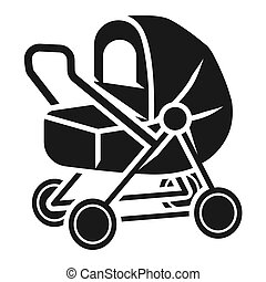 Baby stroller with awning icon, simple style