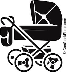Baby stroller with bag icon, simple style