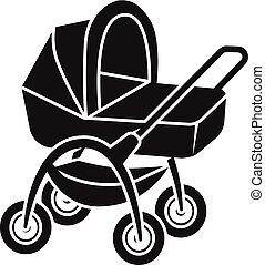 Baby stroller with basket icon, simple style