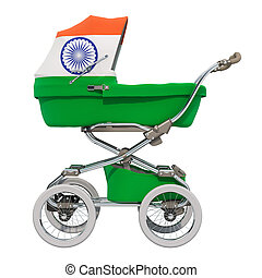 Baby stroller with Indian flag texture, 3D rendering