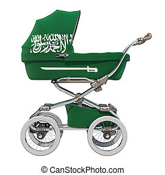 Baby stroller with Saudi Arabia flag texture, 3D rendering