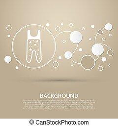 baby, strumpfhose, ikone, auf, a, brauner hintergrund, mit, elegant, stil, und, modern, design, infographic., vektor