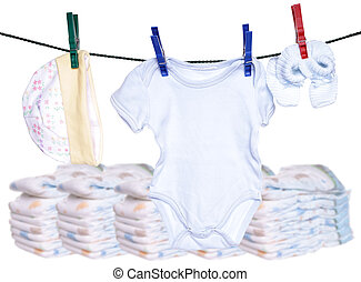 Baby Stuff - Baby clothes with Baby diapers
